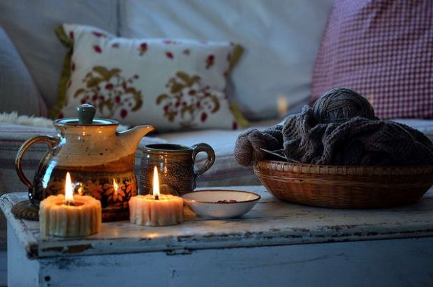 Hygge Lifestyle Living Danish Happiness Cozy Tea Relaxation Candles Knitting Pillows
